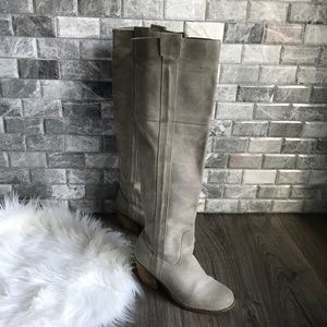 Report 'Belzer' Knee High Tall Leather Grey Boots